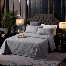 Gray white Pink 100% Cotton Comfortable Quilted Bedspread Bed Cover Sheet Linen Blanket Summer Quilt Pillowcases 3pcs