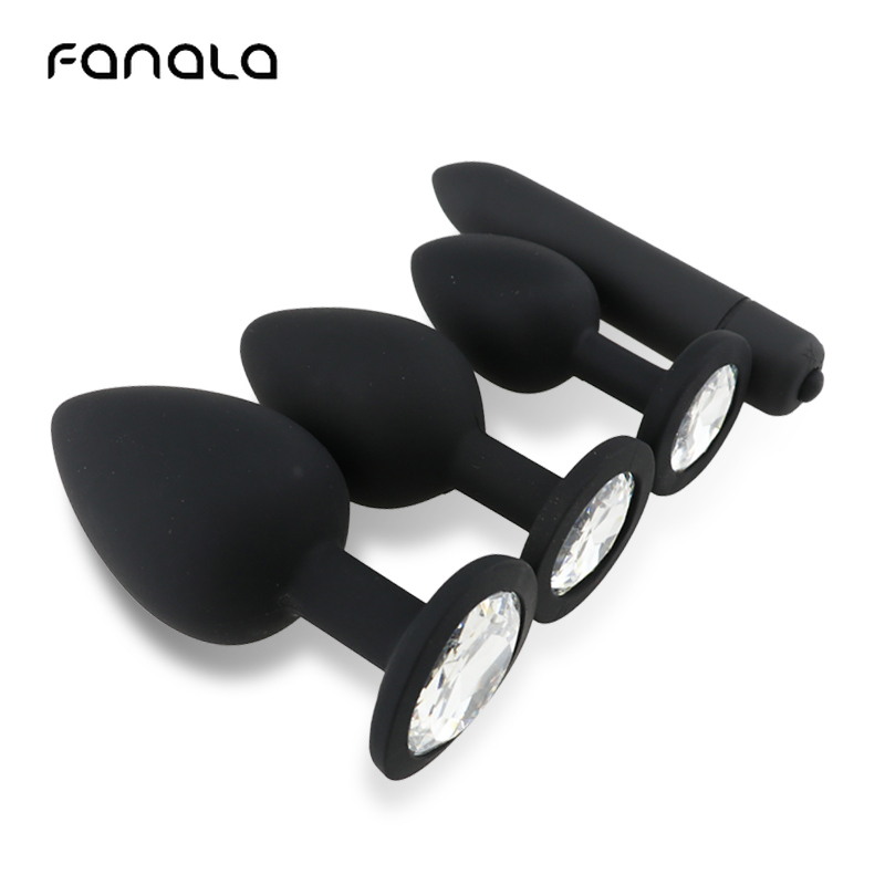 FanaLa Black Bullet Vibrator <font><b>Anal</b></font> Plug Ass Massage Vaginal Masturbation Butt Plug <font><b>Anal</b></font> <font><b>Sex</b></font> <font><b>Toy</b></font> <font><b>Sets</b></font> for Women Gay Couple image