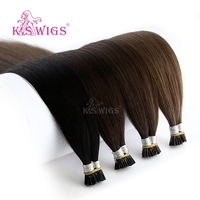 K.S WIGS 20'' 28'' Straight Remy I Tip Human Hair Extensions Double Drawn Stick Fusion Hair 200s/pack