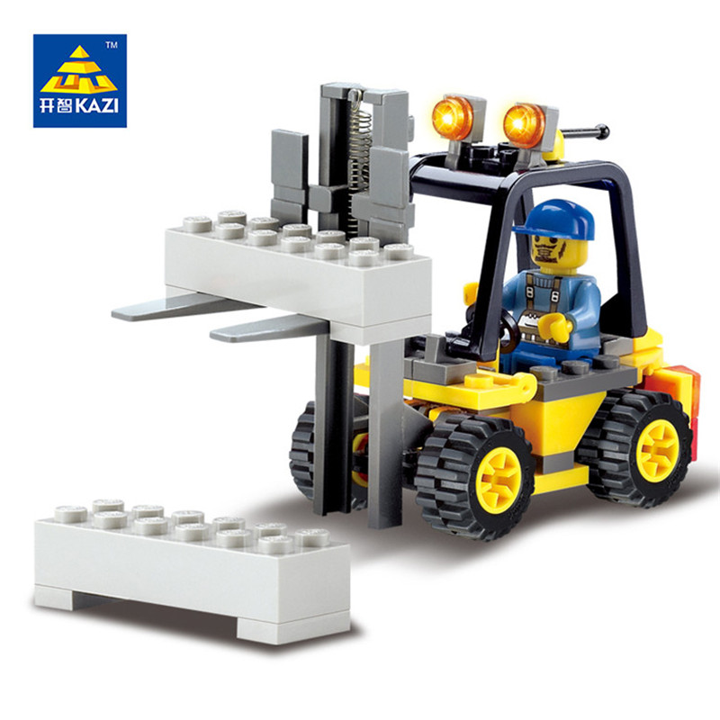 Kazi  City Forklift Blocks 70pcs Bricks Building Blocks Sets Education Toys For Children drop shipping 2017 kazi 98405 wz 10 military helicopter blocks 480pcs bricks building blocks sets enlighten education toys for children