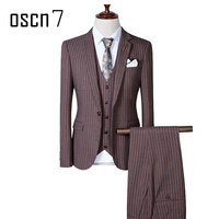 OSCN7 Pinstripe Suit Jacket 3 PCS Slim Fit Leisure Office Dress Suits for Men Plus Size Casual Terno Masculino 4XL Tuxedo
