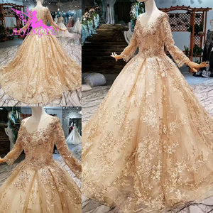 Image 1 - AIJINGYU düğün konuk elbiseler müslüman abiye Dubai pelerin uzun kore nişan lüks kristal elbisesi gelinlik