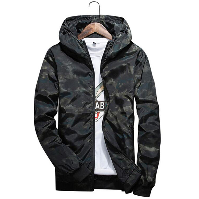 Spring And Autumn Camouflage Windbreaker Young Mens Thin Jackets Leisure Hoodie Plus Size Trench Jackets & Coats