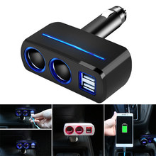 Do Promotion! Newest Auto Car Cigarette Lighter Splitter Dual USB Car Charger Adapter with 2 Socket Lighter Adapter(China)