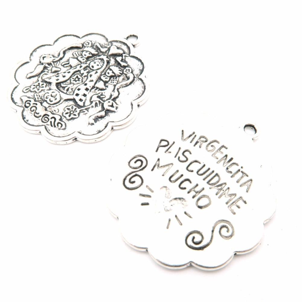 Pendants for necklace antique sliver Virgencita plis cuidame mucho Pendants Jewelry Findings & Components D-3-23