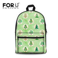 FORUDESIGNS 2019 Child Canvas Backpack Fresh Tree Green Printing For Teenagers Girls Student Book Bag Satchel Feminine Packbags