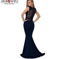 SEBOWEL Sexy Embroidery Fishtail Party Dress Women Elegant Long Maxi Bodycon Mermaid Evening Gown Sleeveless Floor Length Dress