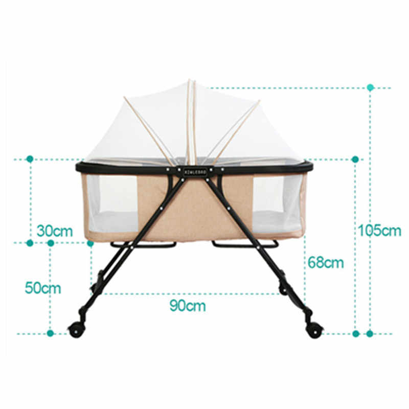Portable Folding Baby Swing Bed Quiet Kids Bed Sofa With Wheels Mosquito Net Breathable Outdoor Travel Baby Beds