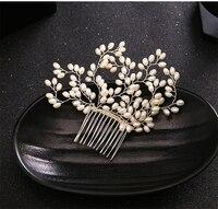 Pearl Hair Comb Wedding Hair Accessories Bride Jewelry Tiara Comb Headpiece Peinetas Tocados Para Novias Bijoux