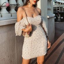 Conmoto Women Summer Elegant Sexy Short Dress Fashion Apricot Mesh Polka Dot Off Shoulder Mini Dress Mujer Chic Bodycon Vestidos