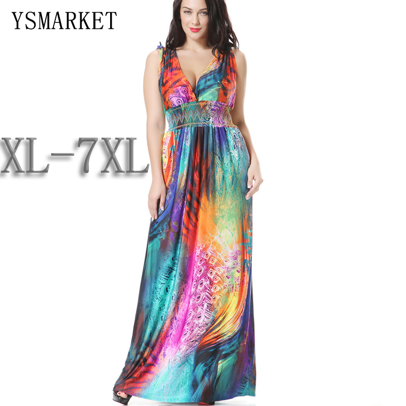 US $23.81 9% OFF plus size women dress rainbow colorful bohemian printed  summer dress 6XL beachwear vestidos slimming holiday maxi dress-in Dresses  ...