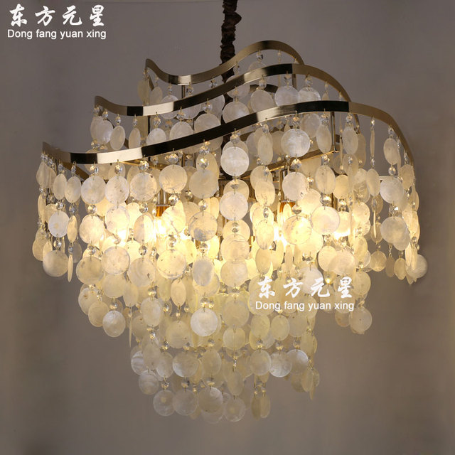 ba3ee0101f3 sea shell pendant light creative shell wind chime hanging lamp living room  dining room bedroom bar decorative lighting