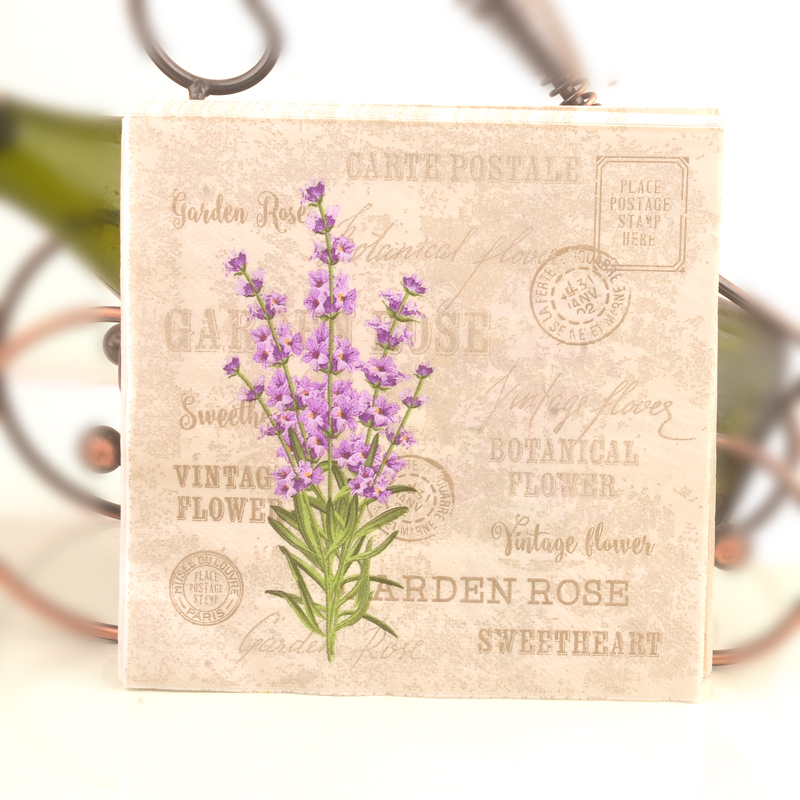 где купить Vintage Lavender Flower Stamp Paper Napkins Cafe&Party Tissue Napkins Decoupage Decoration Paper 33cm*33cm 20pcs/pack/lot дешево