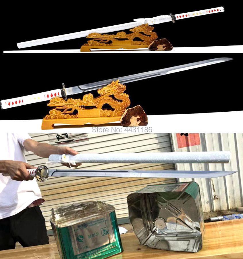 Bellissimo Battaglia Pronto Di Alta Manganese Nitidezza Giapponese Ninja Spada Diritta Lama Katana/casa Decorare Regalo Coltello Spade