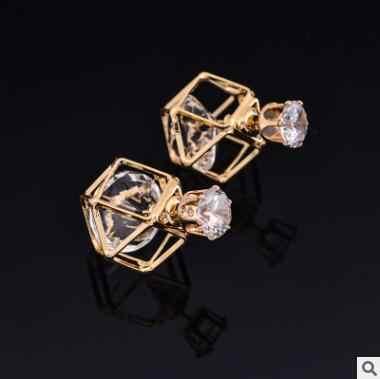 Chất lượng cao New Fashion Vàng và Bạc Rỗng Ra Đôi Side Zircon Stud Earrings Phụ Nữ Trang Sức Cưới Tốt Bijoux brincos
