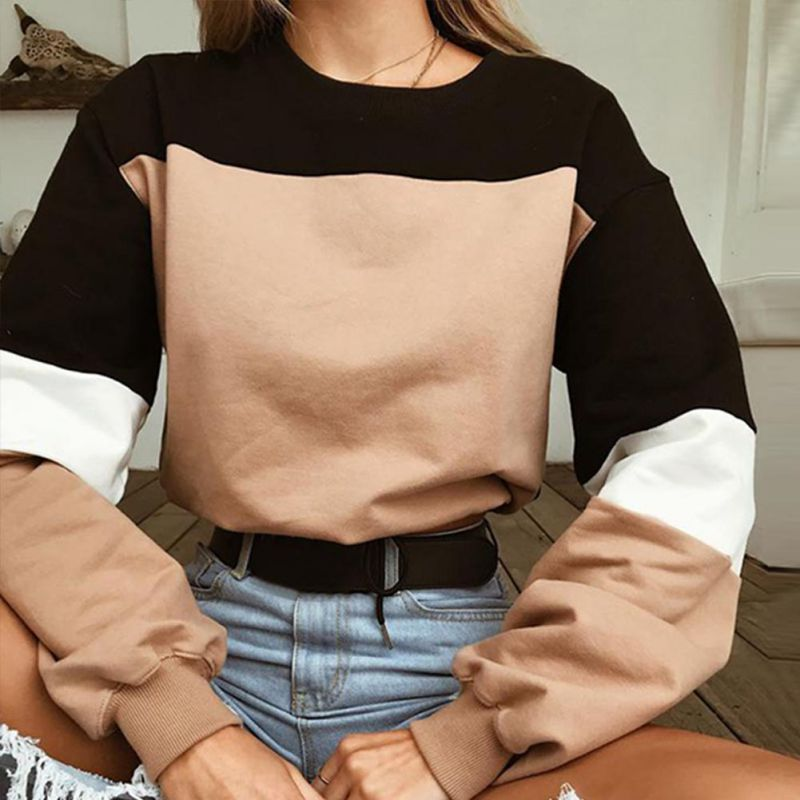 Women's fashion solid color drawstring sweatshirt Sexy Girls shirts O Neck Autumn Pullovers Patchwork Women Sweatshirts