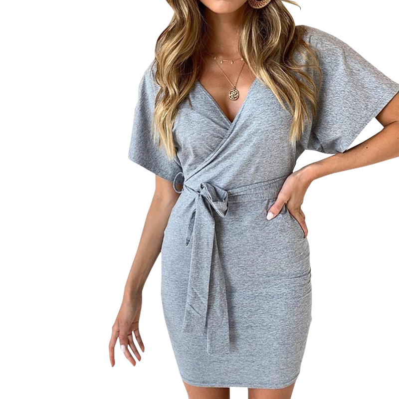 New Women Wrap Dress V-neck Sashes Party Dress Batwing Sleeve Summer Casual Dress Mini Elegant Office Work Lady Overalls Gv324 Women's Clothing