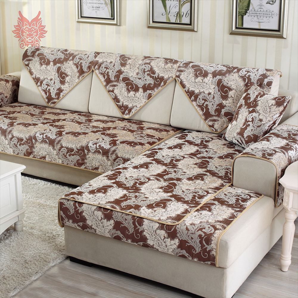American Europe Classic Style Coffee Chenille Floral Jacquard Cloth Sofa  Cover Slipcovers For Home Decor Anti Slip Canape SP4166