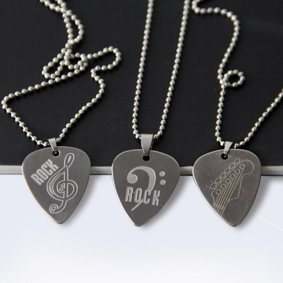 Stainless Steel Metal Rock Acoustic Guitar Picks Necklace Electric Bass Guitar Plectrum oregon state beavers stainless steel birdcage necklace