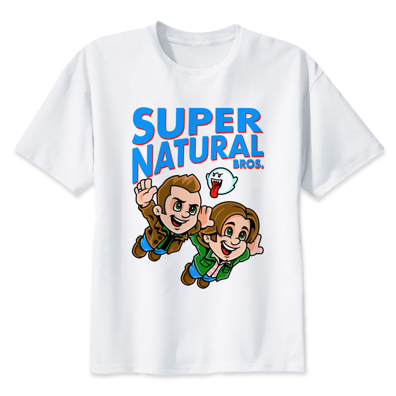 Supernatural dean winchester t-shirt männer sommerdruck T-shirt jungen kurzarm mit weißer farbe Fashion Top Tees MR1587