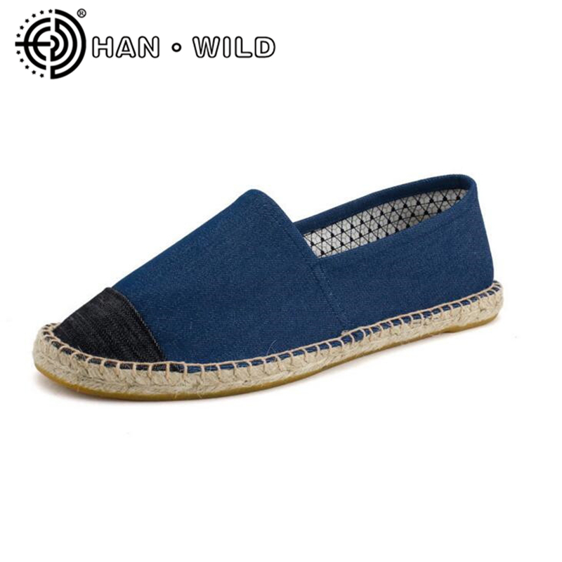 Flax Fashion 2018 Hemp Soft Men Casual Shoes Slip On Men Flats Male Espadrille Fisherman Shoes Couples Classic Canvas Shoes
