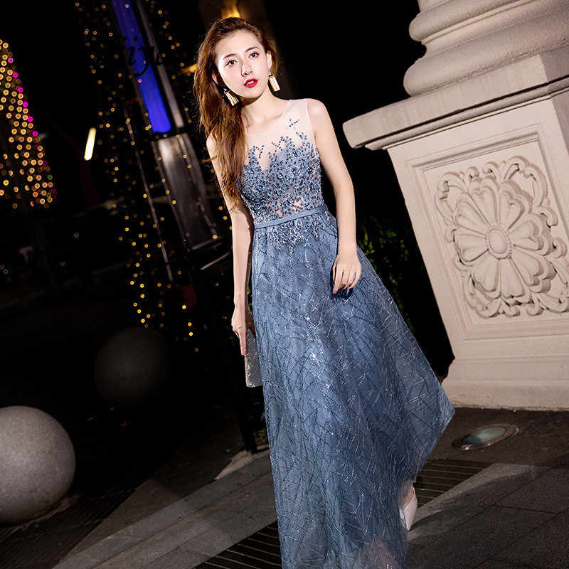 Sleeveless Evening Dress Beading Pearls O-neck Fashion Party Gowns Gray Blue Floor Length Long Formal A-line Prom Dresses  E060