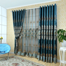 European luxury velvet chenille curtains embroidered chiffon bedroom restaurant shade decorative curtains custom