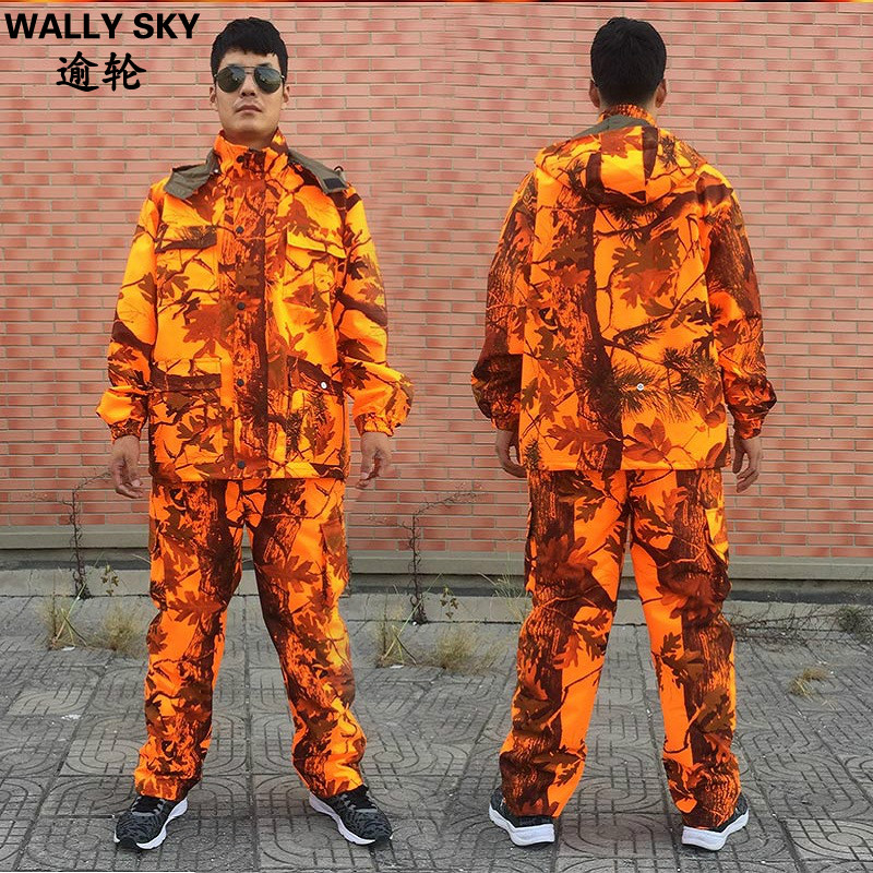 Men's Outdoor Hunting Clothing Jacket & Pants Sniper Ghillie Suit Orange Camouflage Waterproof Hunting Suit Bionic Tactical Suit