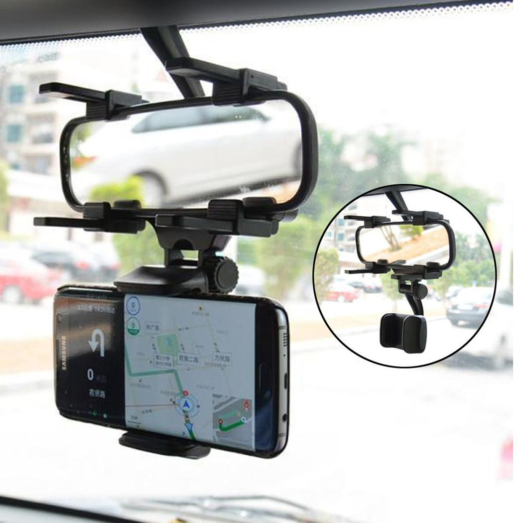 Universal Car Phone Holder 360 Degrees For Apple iPhone Samsung GPS Smartphone Stand Car Rearview Mirror Mount Phone Holder(China)