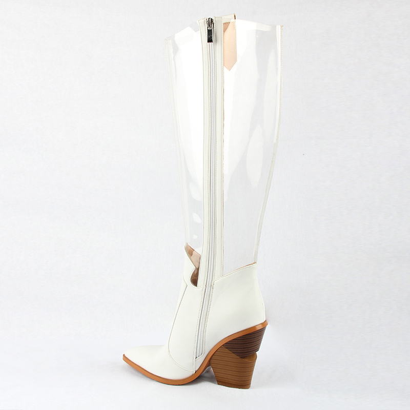 Image 3 - 2019 Autumn New Western Shoes Women PVC Thigh High Boots Clear Pointed Toe Crystal Heel Over Knee Transparent Boots Rain Boots-in Knee-High Boots from Shoes