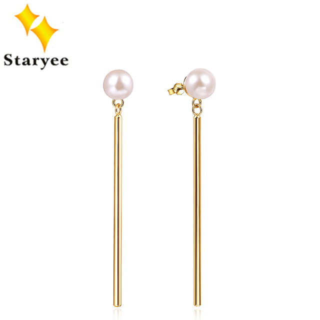 STARYEE Certified Pure 18K Au750 Yellow Gold Stud Jewelry Elegant Akoya Pearls Dangle Drop Earrings For Women Anniversary Gift