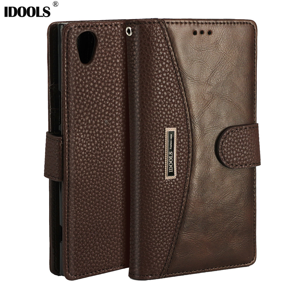 IDOOLS Cover Case For Sony Xperia L2 L1 XA1 Plus PU Leather Wallet Flip Phone Bag Cases For Sony Xperia XA2 Ultra XZ1 XZ Compact