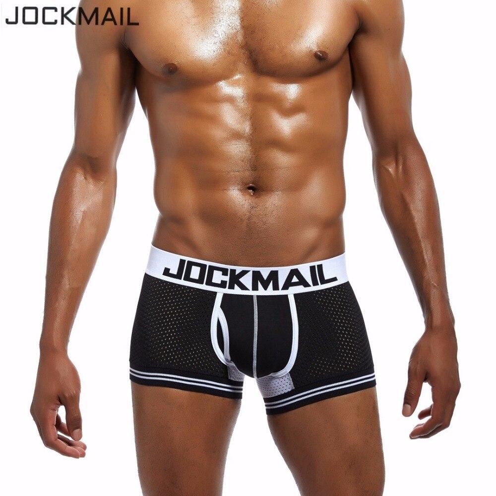 JOCKMAIL Brand Male Panties Mesh Breathable Boxers Cotton Men Underwear U Convex Pouch Sexy Underpants 7 Color Homewear Shorts