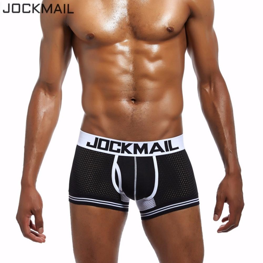 JOCKMAIL Brand Nylon Mesh TOUCHDOWN CRUISE Leg Elastic Men Underwear Boxer Trunks Sexy WJ U Convex Cotton Cup Men Boxer Shorts