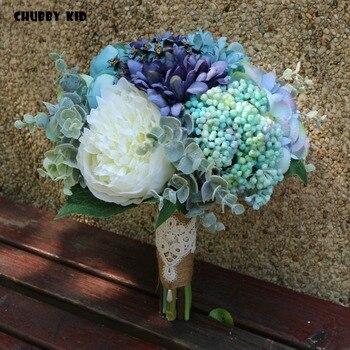 Vintage natural style 1 bouquet nice wedding bridal bouquet blue color artificial flower bouquet de mariage Bridesmaid bouquet