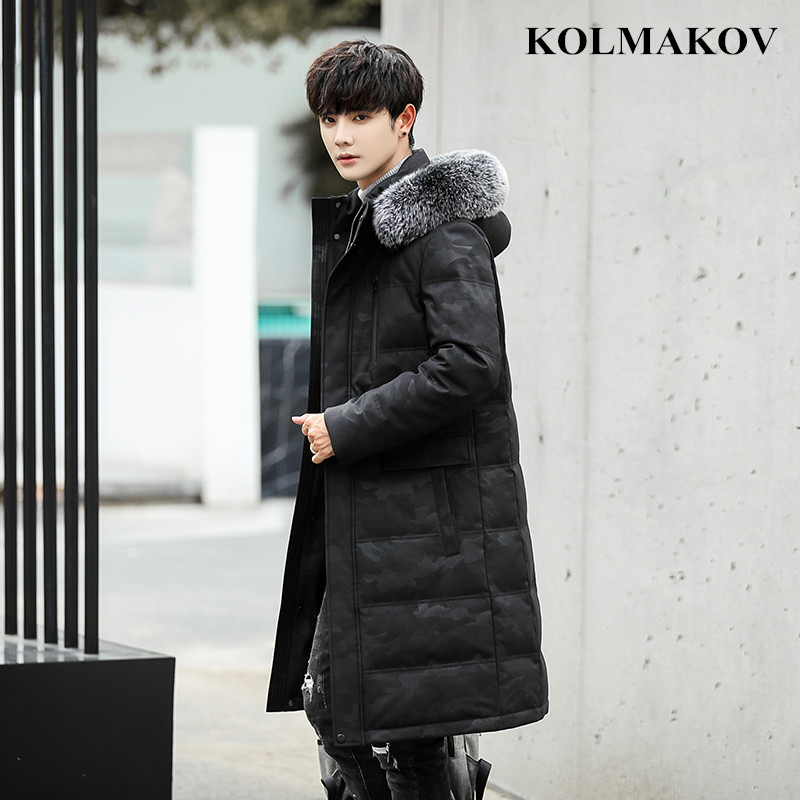 2018 New Winter Mens Duck   Down   Jackets Slim Men's Long Thick Hooded Jackets Snow Overcoats Oversized 4XL,5XL Military   Coats   Men