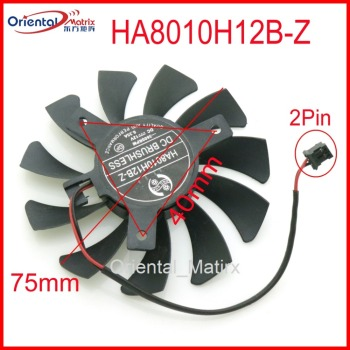 Free Shipping HA8010H12B-Z 12V 0.35A 75mm 40*40*40mm 2Pin For MSI 750TI GTX750TI N740 GTX730 GTX740 Graphics Card Cooling Fan