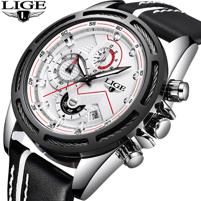 LIGE Mens Watches Top Brand Luxury Mens Military Sports Watch Mens Automatic date Waterproof Leather Watch Relogio Masculino+Box vietnam veteran leather mens watch