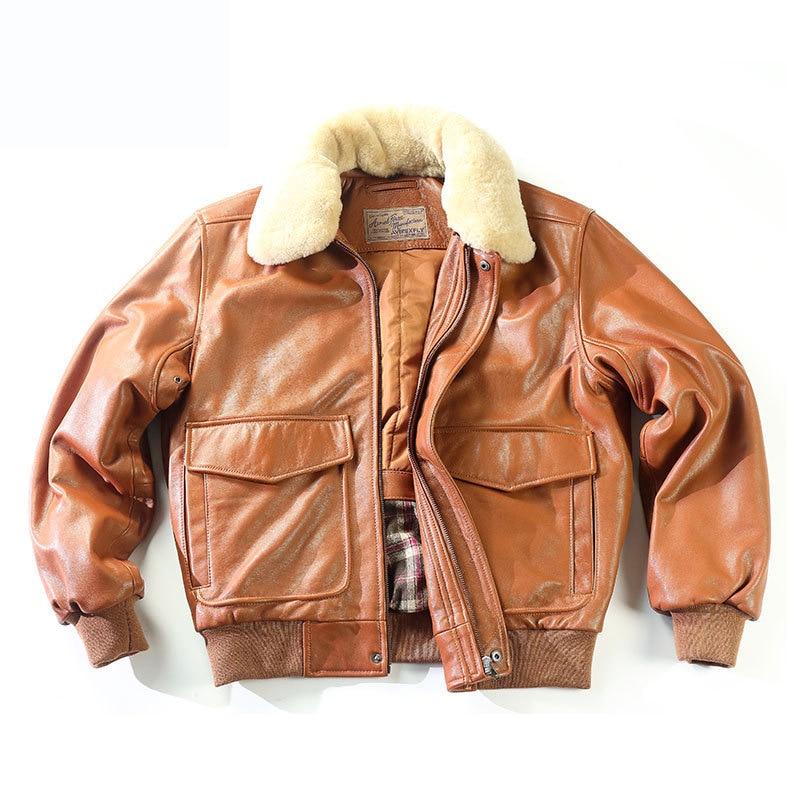 Mens Real Fur Collar Leather Bomber Pilot Flying Jacket Black Brown A2