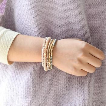 BOJIU Multicolor Crystal Strand Bracelets For Women Gold Acrylic Copper Beads 1