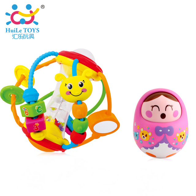 Lovely Tumbler Doll Toys & Huile Healthy Baby Rattle Ball Toys for Newborn Babies