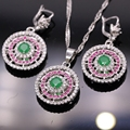 Fashion Jewelry White Gold Plated Created Emerald&Ruby AAA Zircon Pendant Necklace Earrings Set For Women