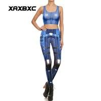 NEW 1668 Sexy Girl leggins Blue Belt Droid Mecha Game Cosplay Prints Women Leggings Crop Top Vest bra Sets Fitness Workout Suit