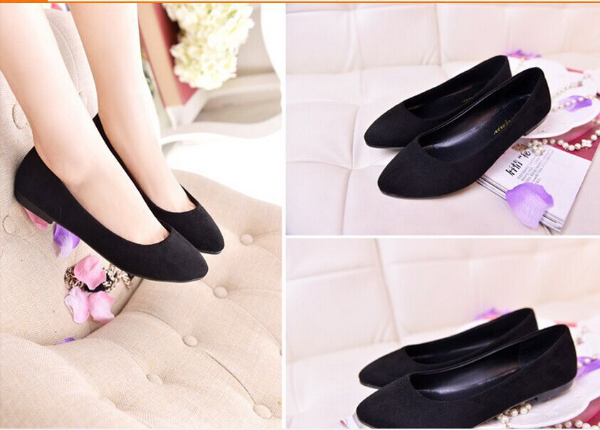 f22c6391b44c0 Lady's big sizes 33 47 Cute flock soft comfortable pointed toe flattie  driving Dancing Shoes for Wide Foot Navy Blue Black Blue-in Women's Flats  from Shoes ...