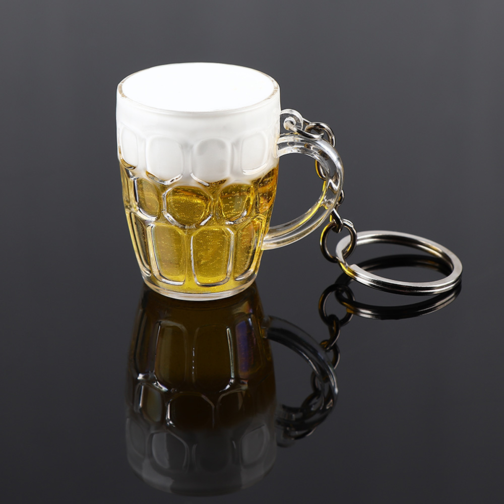 New Creative Cool Lovely Mini Resin Crafts Beer Car Keychain Unisex Women Men Simulation Beer Cup Pendant Keyring Gift Hot Sale
