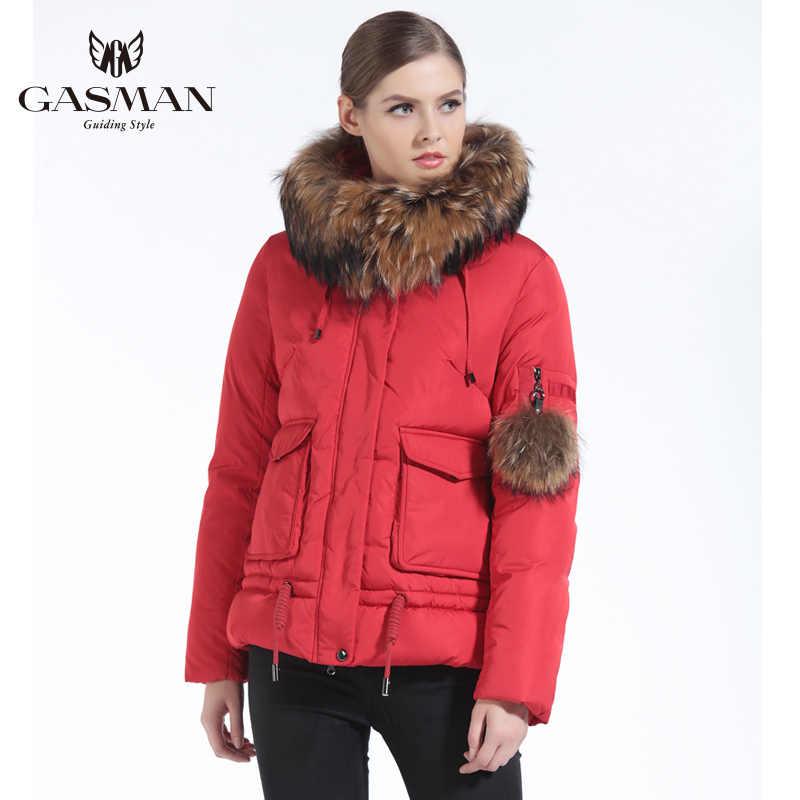 GASMAN 2019 nouveau hiver Parkas femmes court femme à capuche doudoune et manteaux hiver épais manteau naturel fourrure col raton laveur 3XL