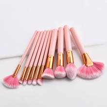 10 pcs/set Makeup Brush Set Soft Synthetic Head Pink Wood Handle Powder Eyeshadow Brushes Fan Flat Brush set women Make Up Tools new arrival black handle full brush made of synthetic fibres shaped 141 synthetic face fan makeup brushes