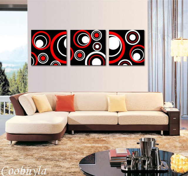 Cool Living Room Art Part - 21: 3 Pieces Top Quality Modern Wall Art Abstract Oil Painting Black Red White  Canvas Prints Cool