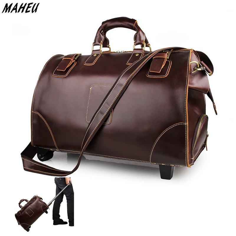 Men's genuine leather waterproof travel bags big men women durable travel duffle weekend trolley bag carry on luggage bags