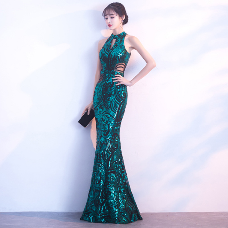 Lake Blue Mermaid Chinese Sexy Sequins Oriental Party Female Cheongsam Stage Show Qipao Dress Elegant Celebrity Banquet Dresses